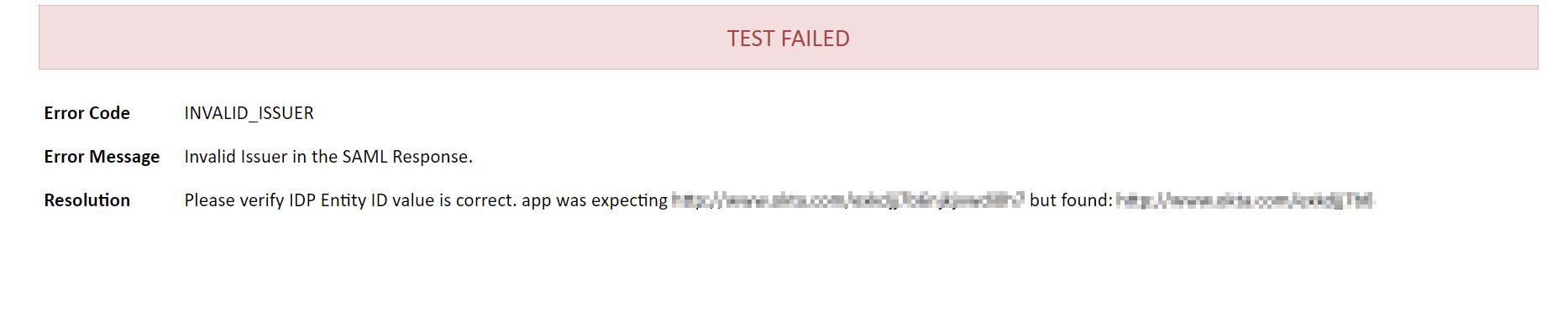 Test Failed